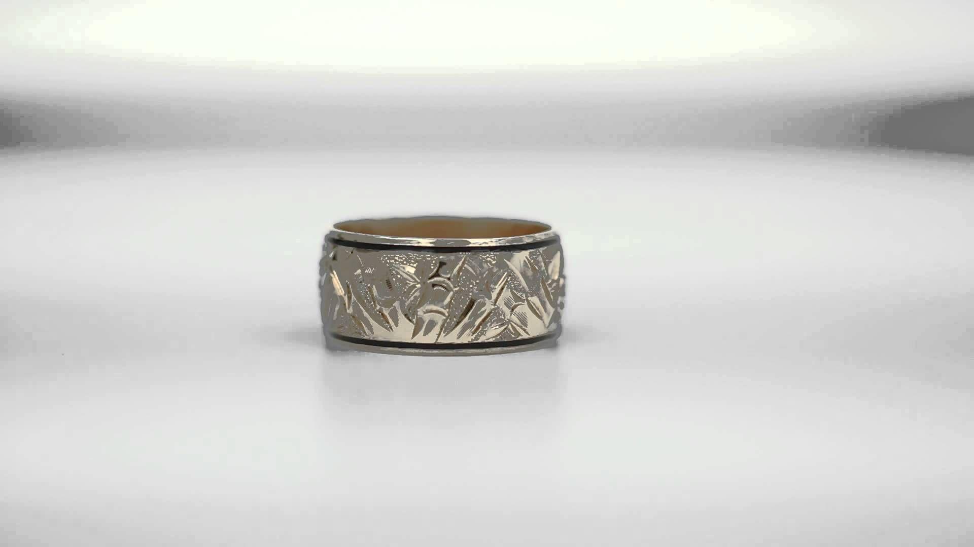 Custom Design Bamboo Hawaiian Wedding Ring With Black Enamel Titanium Wedding Rings Wedding Rings Hawaiian Wedding Rings