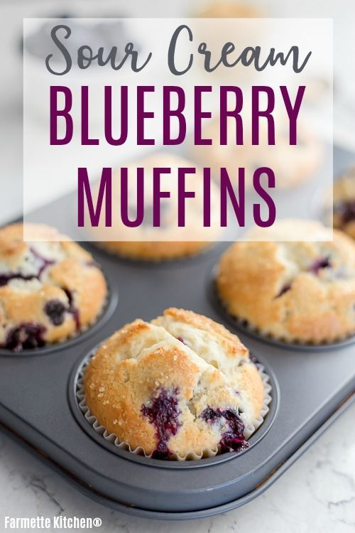 Blueberry Sour Cream Muffins Small Batch Farmette Kitchen In 2020 Sour Cream Blueberry Muffins Sour Cream Muffins Sour Cream Recipes