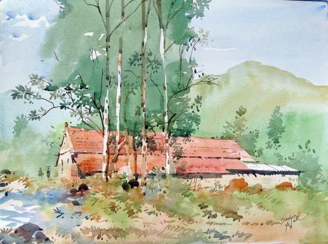 Painting 10 X 8 In C 2010 By Sachin Naik Painting Contemporary A Village Watercolor Landscape Paintings Famous Watercolor Artists Watercolor Illustration