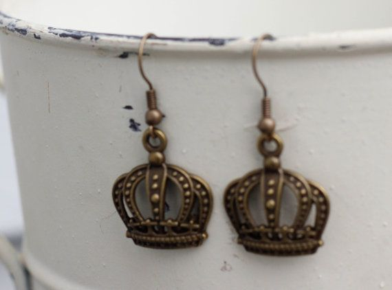 Antique Bronze Crown Dangle Earring by FoxCharmDesigns on Etsy