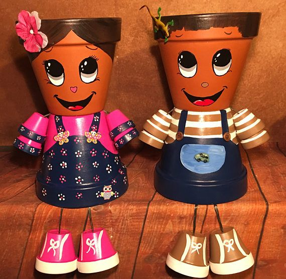 Boy Self Portrait Girl Self Portrait Clay Flower Pots Clay Flower Pots Painted Clay Pots Clay Pot Crafts