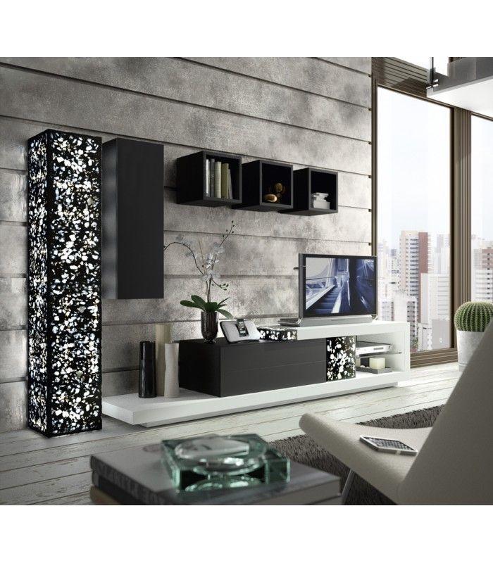 Mueble de sal n de estilo moderno lacado en blanco en y for Mueble salon lacado blanco