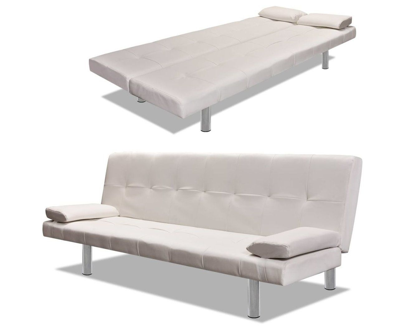 Divano Letto Pelle Bianca.Sofa Bed With Two Pillows Artificial Leather Adjustable Cream