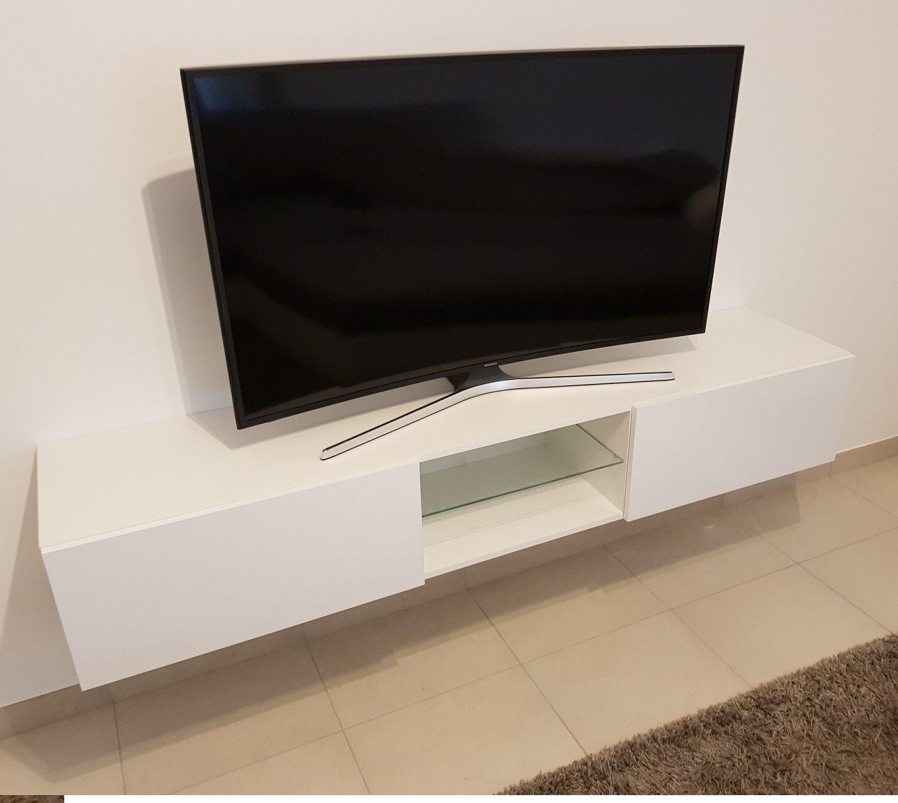 Tv Meubel 180 Cm Breed.Modern Zwevend Tv Meubel Bobbie Glas 180 Cm Breed Uitgevoerd In