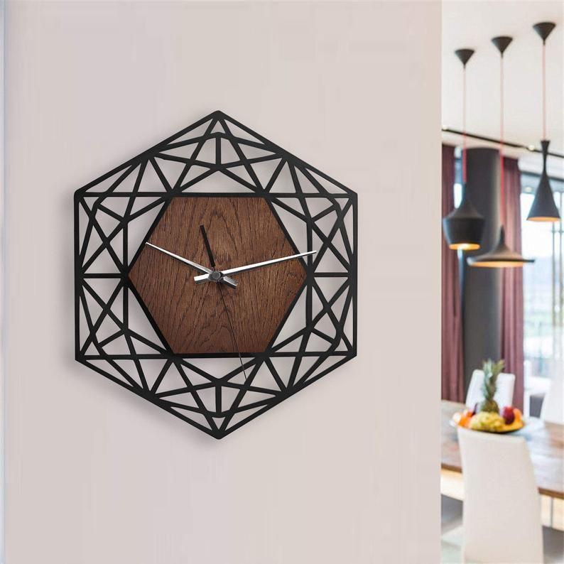 Modern Wall Clock Kitchen Wall Clock Wood Clock Unique Wall Clock Wanduhr Wooden Clock Wall Industrial Wall Clock Danish Modern Wall Clock In 2020 Wood Wall Clock Wall Clock Modern Unique
