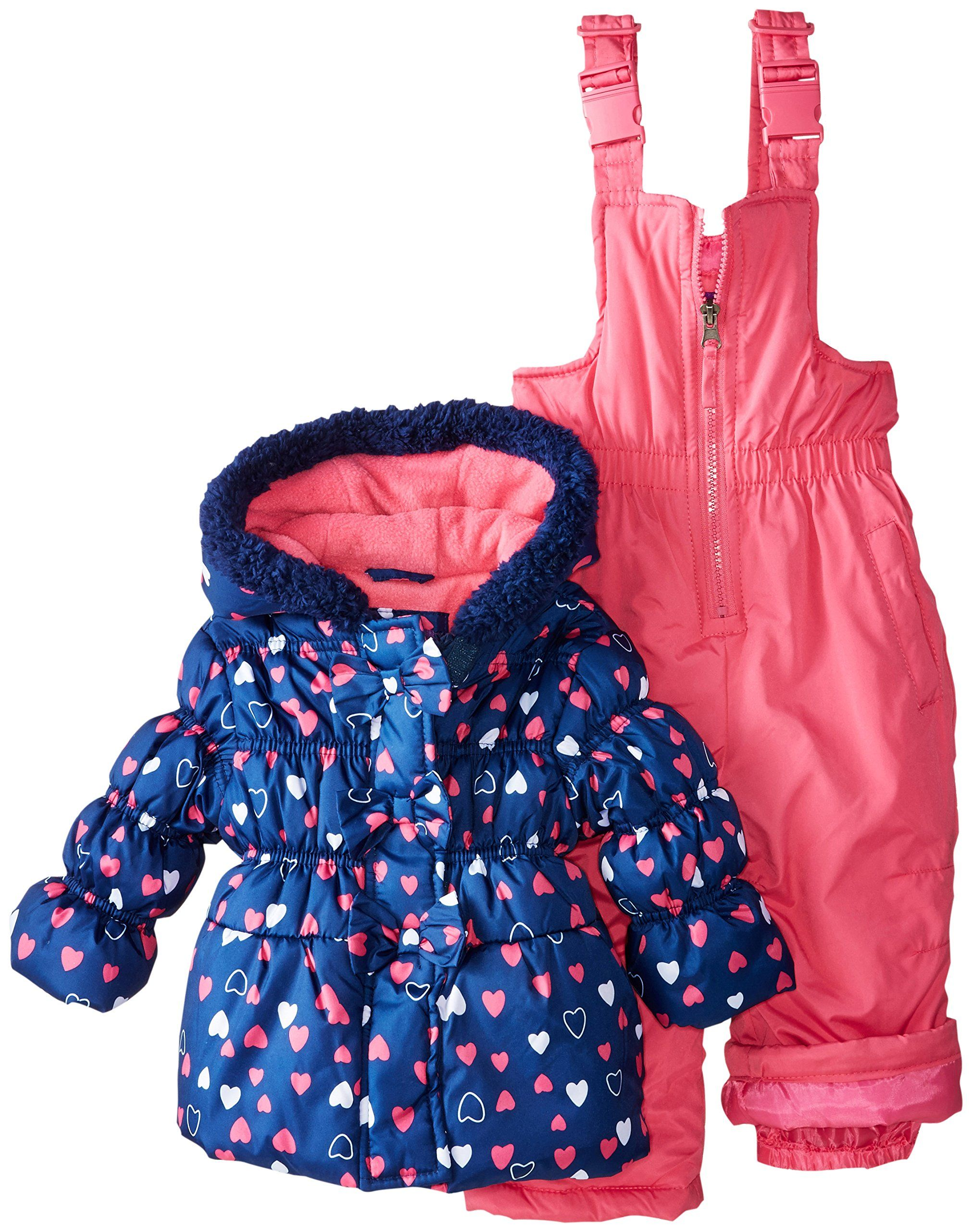 9ad9ad018 Pink Platinum Baby Girls  All Over Heart Snowsuit