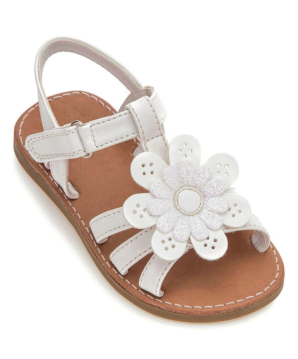 Love This Rachel Shoes White Flower Magnolia Sandal By Rachel Shoes