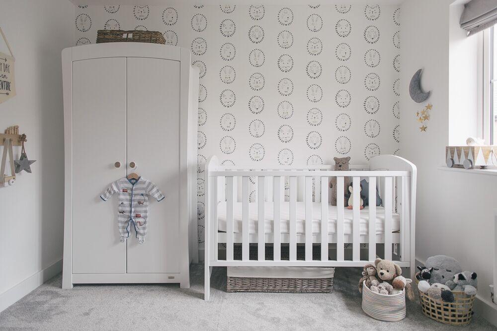 Grey White And Wood Uni Nursery