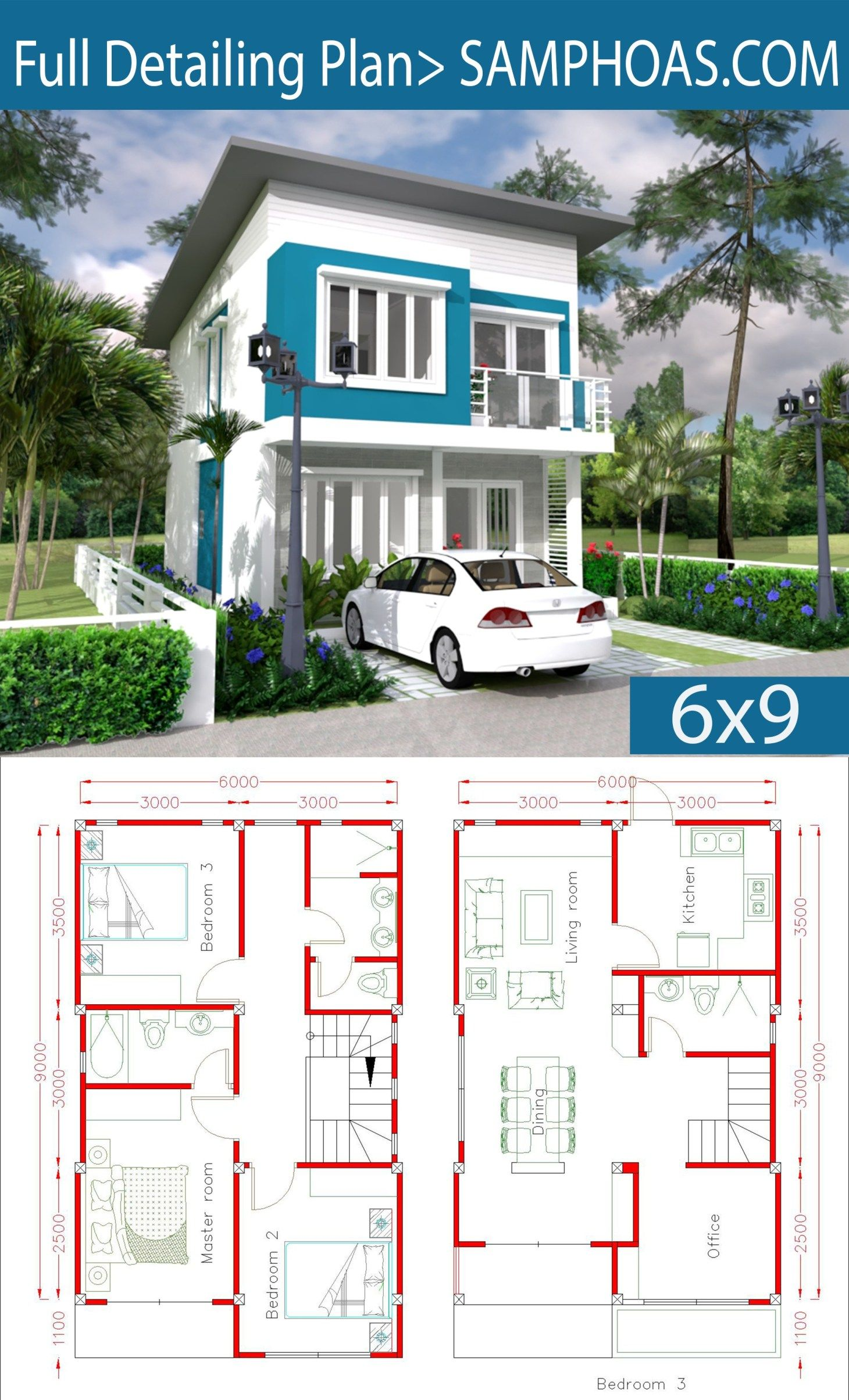 Simple Home Design Plan 6x9m With 3 Bedrooms Samphoas Com Simple House Design Simple House House Construction Plan