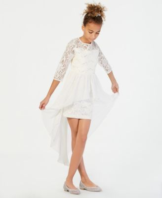 87c36a838c9b Sequin Hearts Big Girls Maxi-Overlay Sequin Lace Dress - White 10 ...