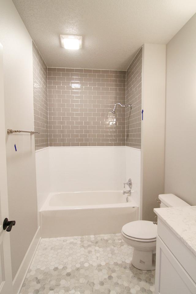 grey subway tile above shower/tub | Subway Tiles | Pinterest | Gray ...