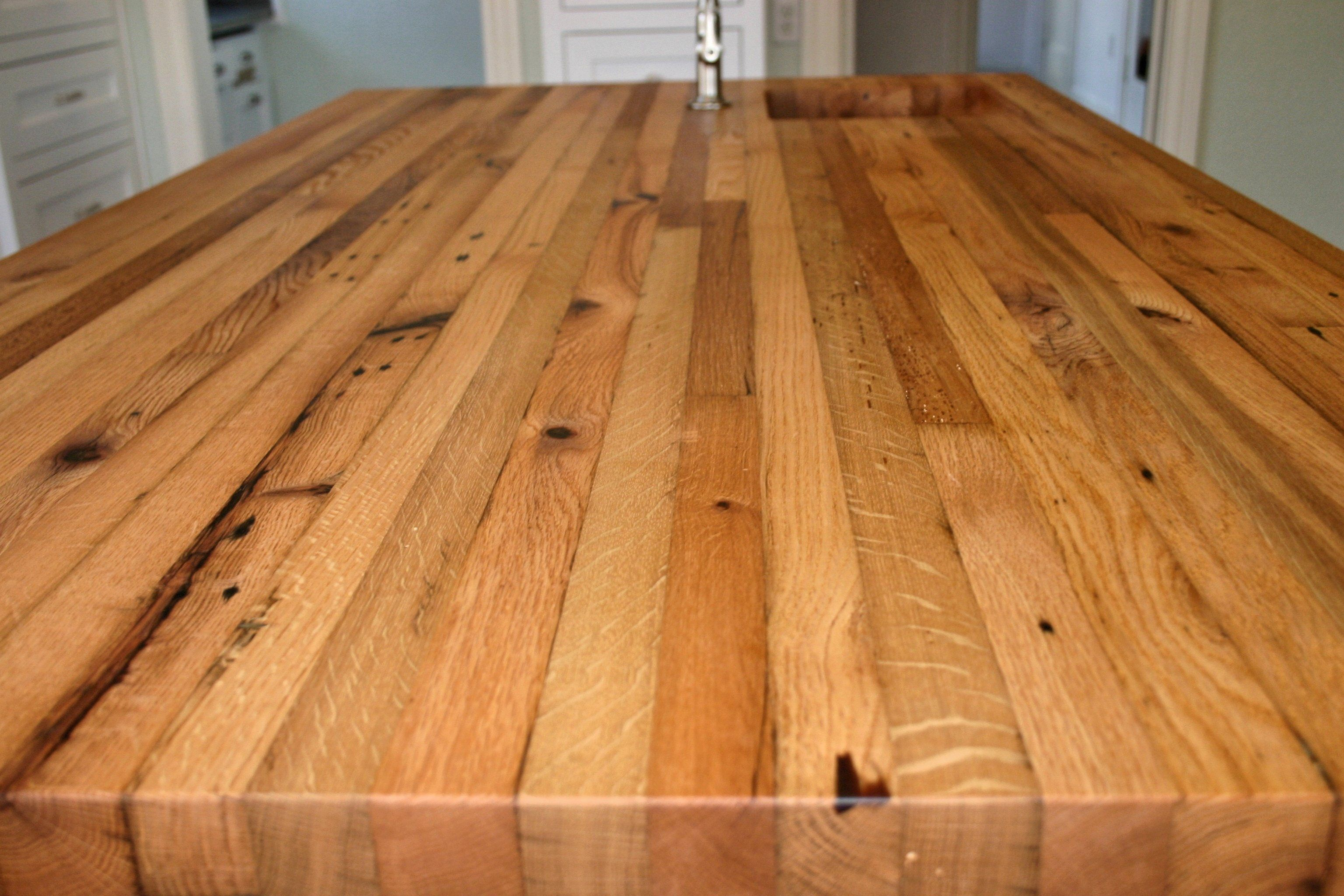 Reclaimed White Oak Face Grain Custom Wood Island Countertop White Oak Wood Wood Countertops Wood Island Countertop