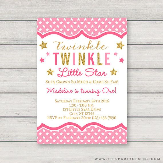 twinkle twinkle little star invitation printable pink and gold girl