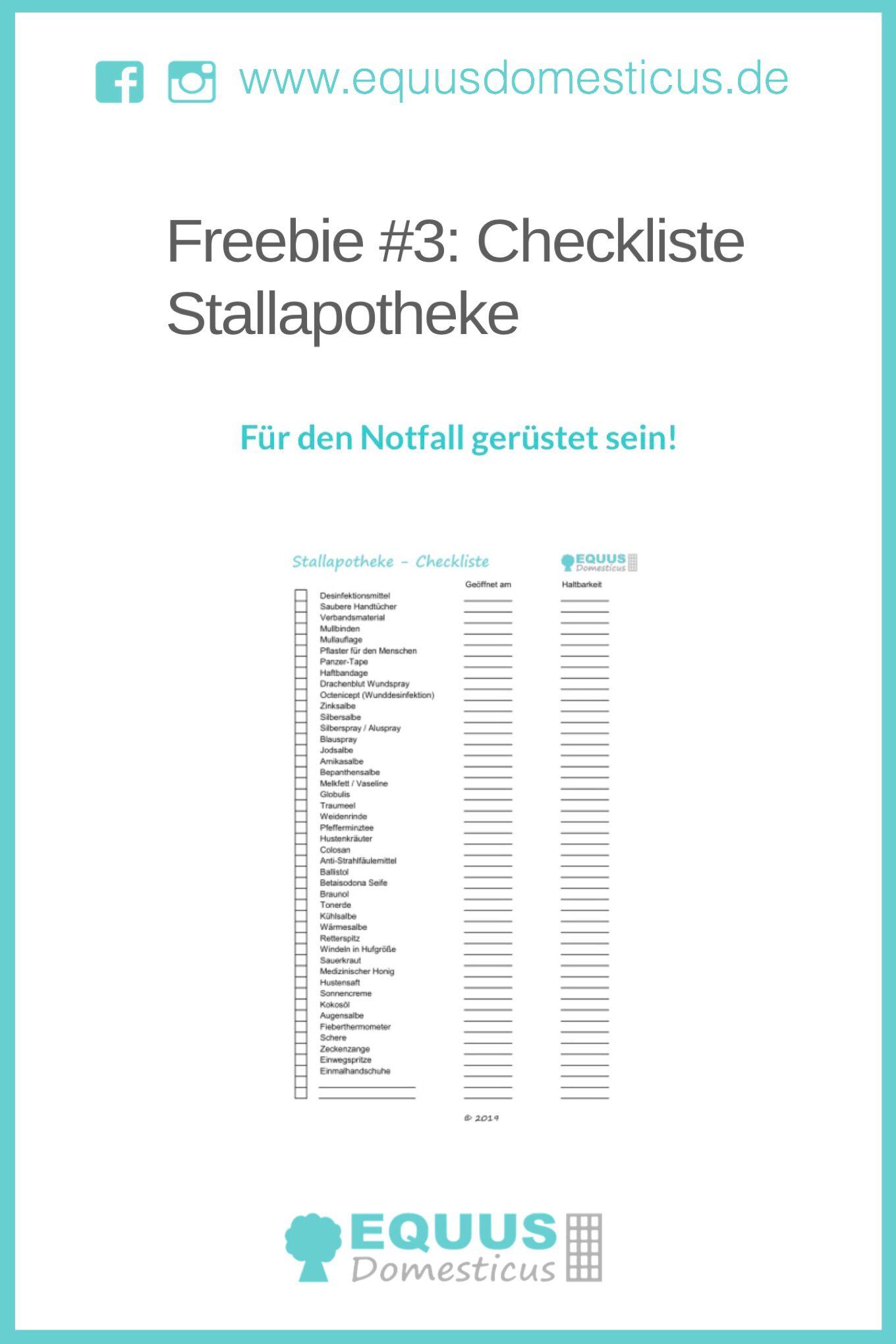 Freebie 3 Checkliste Stallapotheke Pferdekrankheiten Apotheke