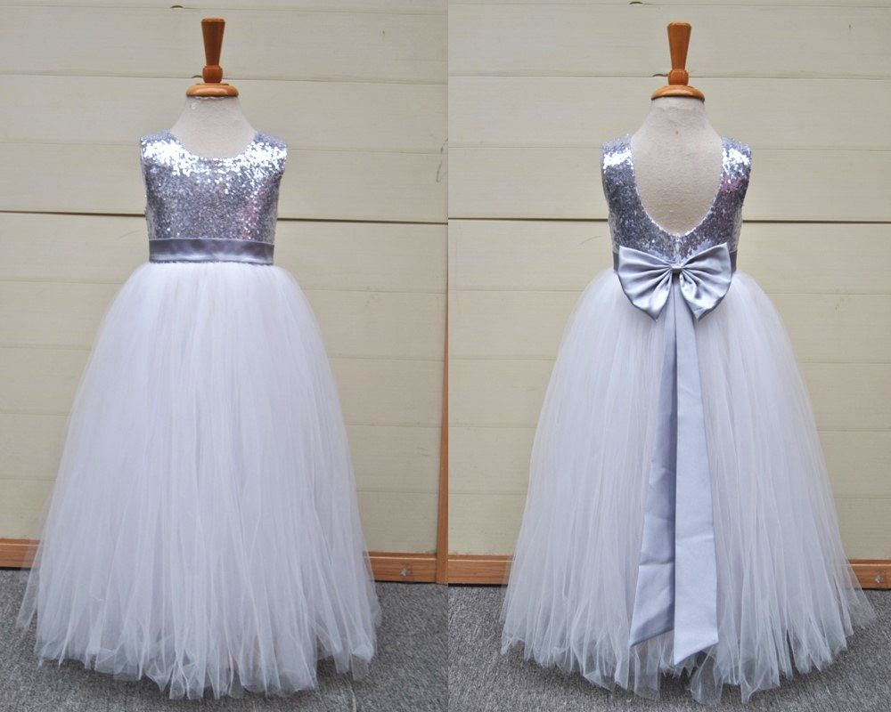 Silver grey sequin tulle flower girl dress stunning flower girl silver grey sequin tulle flower girl dress stunning mightylinksfo
