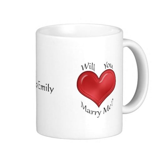 """Marriage Proposal with Glossy Red Heart"": Ask someone to marry you over a hot cup of coffee, and do it without saying a single word. It's a mug that will be treasured for years to come, a reminder of the day you proposed."