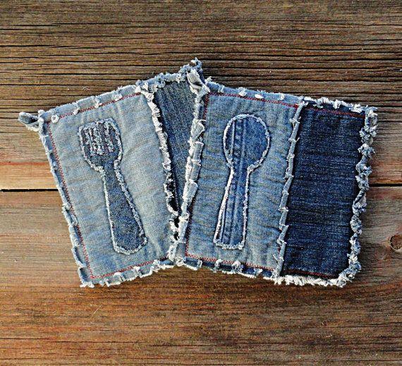 Blue Jeans caliente cojines - agarraderas apliques del dril de algodón - las agarraderas mejor siempre