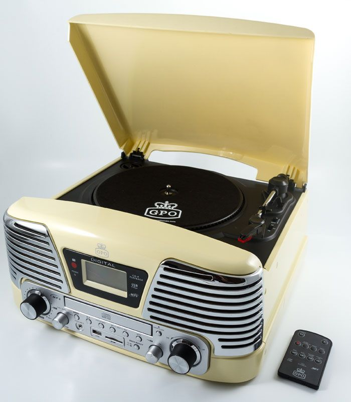 Memphis Vinyl Turntable With FM Radio CD Deck In Cream The GPO Record Player Brings Style To Revival