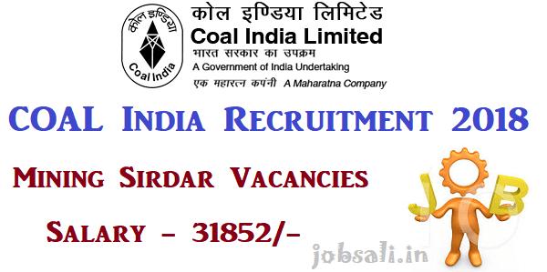 Coal India Recruitment 2018 Mining Siridar Technician Surveyor