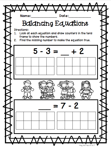 Balancing Equations Addition and Subtraction | math madness ...