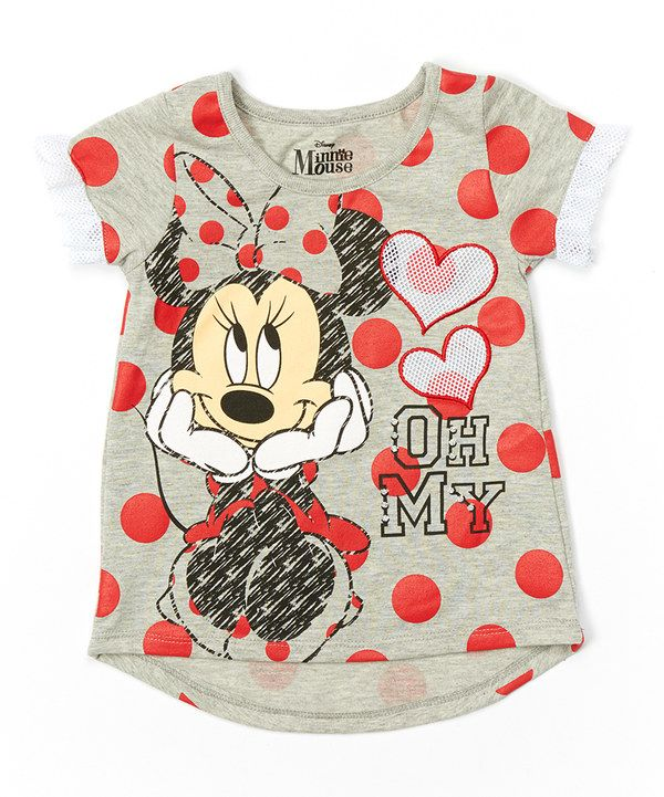 c0f2beac7881 Look at this Gray Polka Dot  Oh My  Minnie Mouse Tee - Girls on ...
