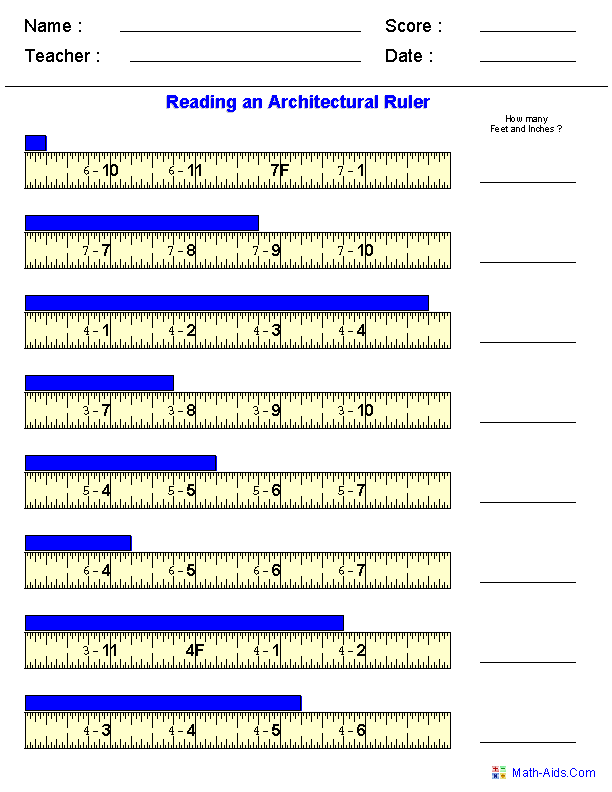 Reading Architectural Measurements Worksheets – Math Measurements Worksheets
