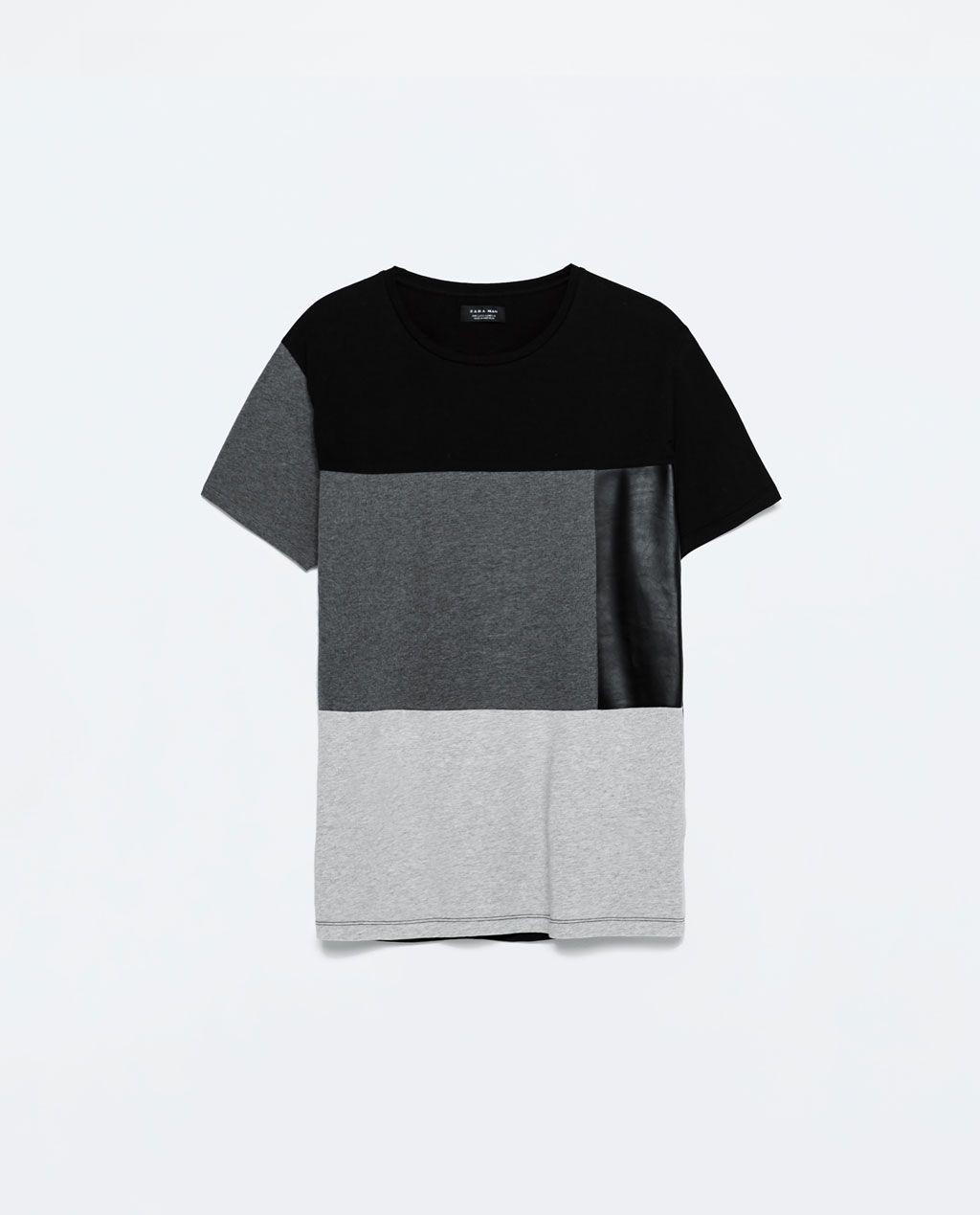 Zara flannel shirt mens  Imagem  de TSHIRT COM PAINÉIS EM POLIPELE da Zara  Fashion Faves