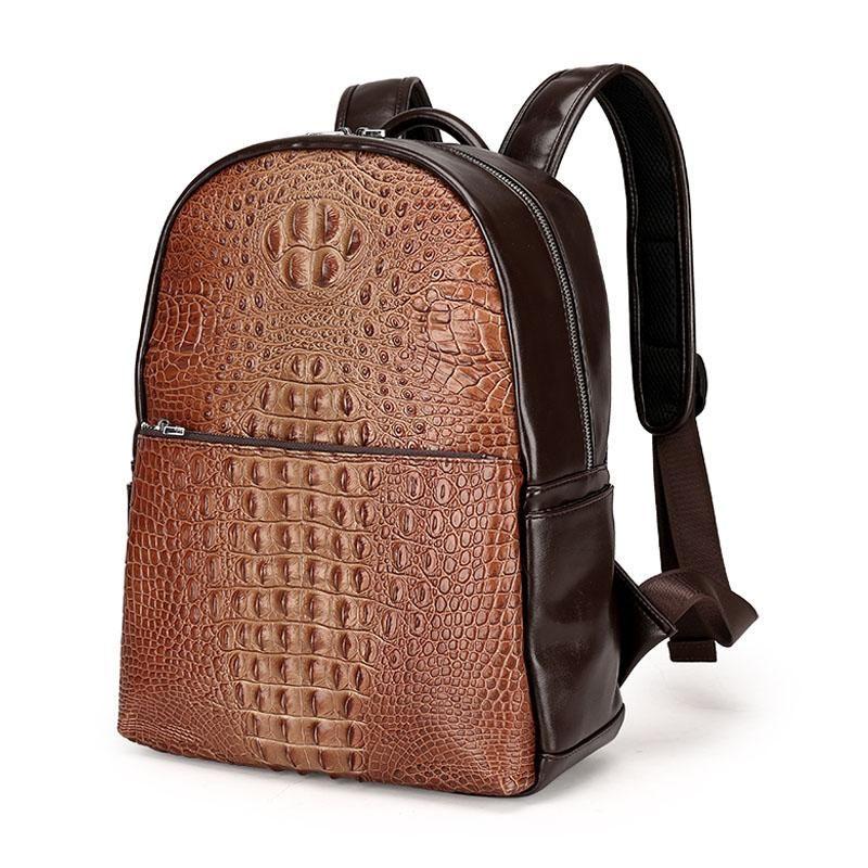 db89e65fcd Men Leather Backpack Men Large Capacity Rucksack Shoulder School Bag 3D  Crocodile Male Back Pack Mochila Escolar