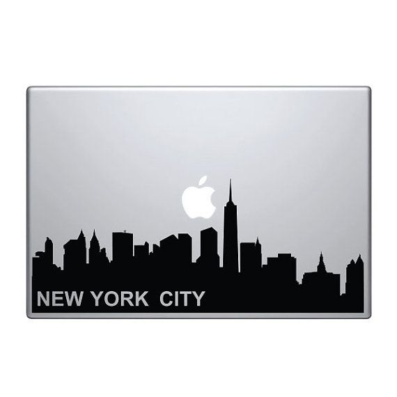 New York Skyline Vinyl Decal Sticker To Fit Macbook Pro - Custom vinyl decals macbook
