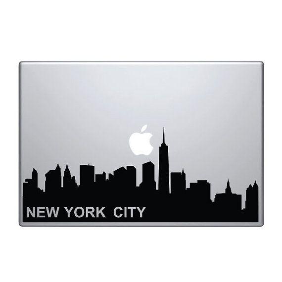 New York Skyline Vinyl Decal  Sticker To Fit Macbook Pro - Custom vinyl decals nyc