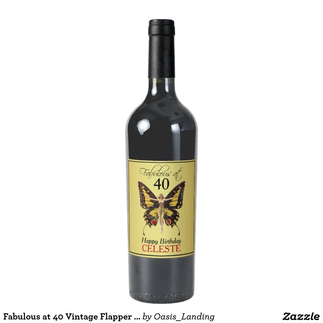 Fabulous At  Vintage Flapper Butterfly Wine Label  Butterflies