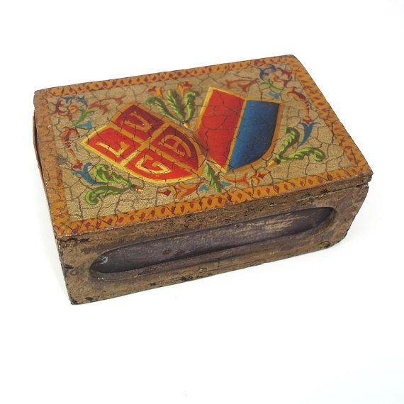 Vintage Wooden Match Holder Matchbox Match Safe   #wood #match #holder #striker #safe #redblue #wooden #home #accessories