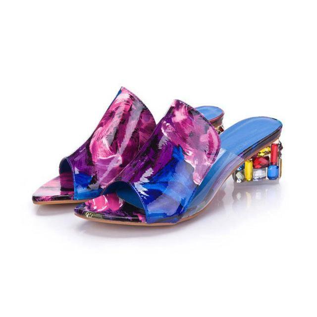 39579fb2f KarinLuna 2018 brand large sizes 34-41 Colorful Rhinestone crystals Heels  peep Toe Summer women s