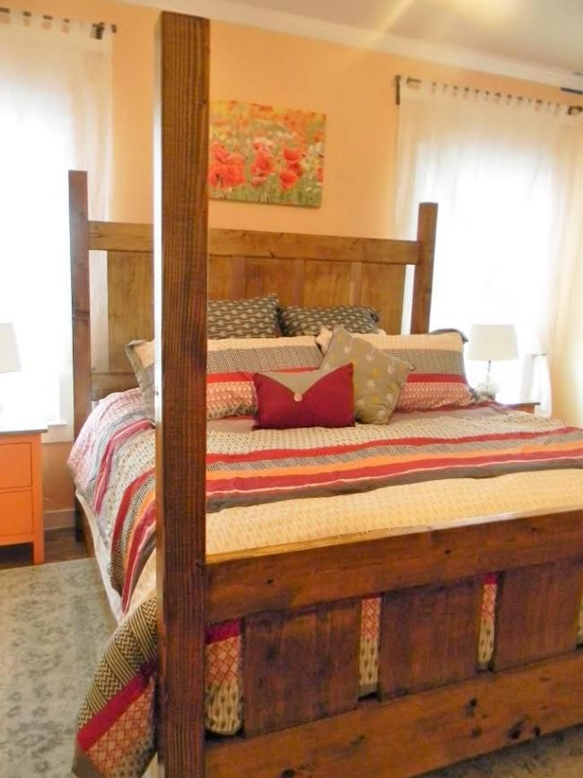 Best Slatted Four Post Farmhouse Bed King Homemade Beds 400 x 300