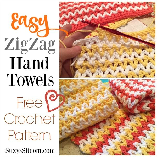 Easy ZigZag Hand Towel Crochet Pattern #handtowels