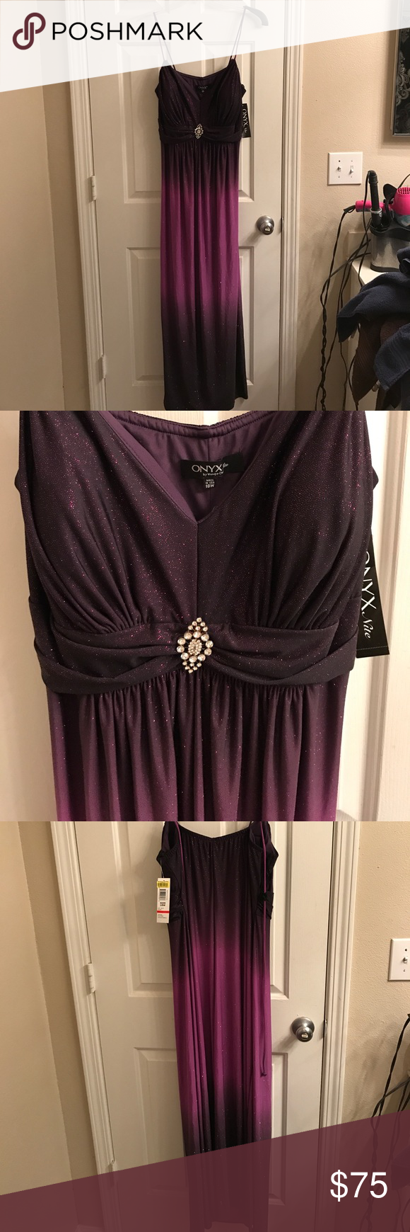 Spaghetti strap formal gown |plus size| Never worn! Perfect condition, gorgeous ombré dress. Onyx Dresses Prom