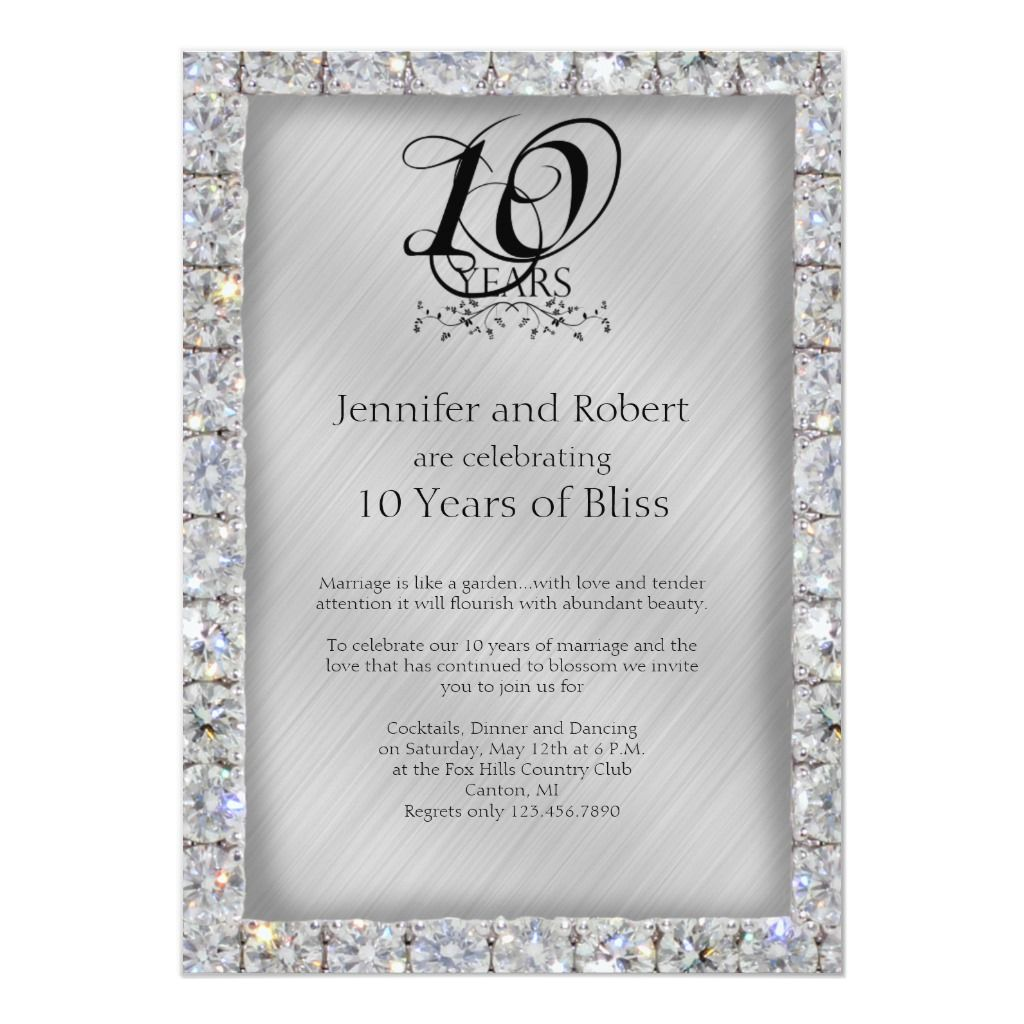 10th Tin And Diamond Wedding Anniversary Invitation Zazzle Com Wedding Anniversary Party Invitations Wedding Anniversary Cards Wedding Anniversary Invitations