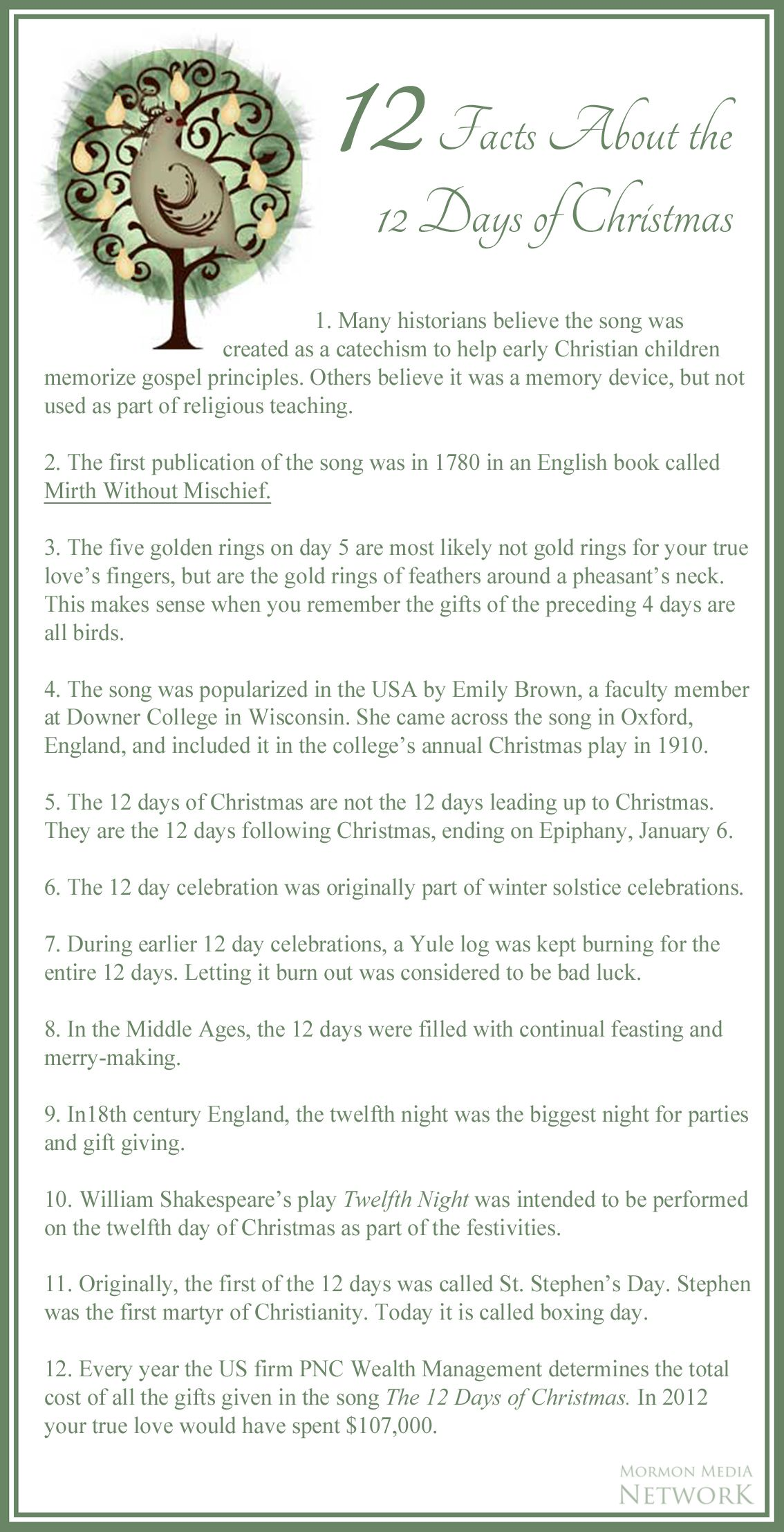 12 Facts About the 12 Days or Christmas … // image by: USA.gov ...