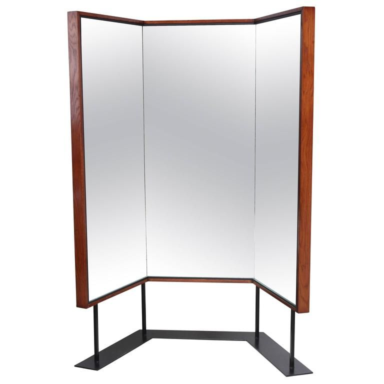 Mid-Century Free-Standing Three-Panel Mirror | Floor mirror, Mirror ...