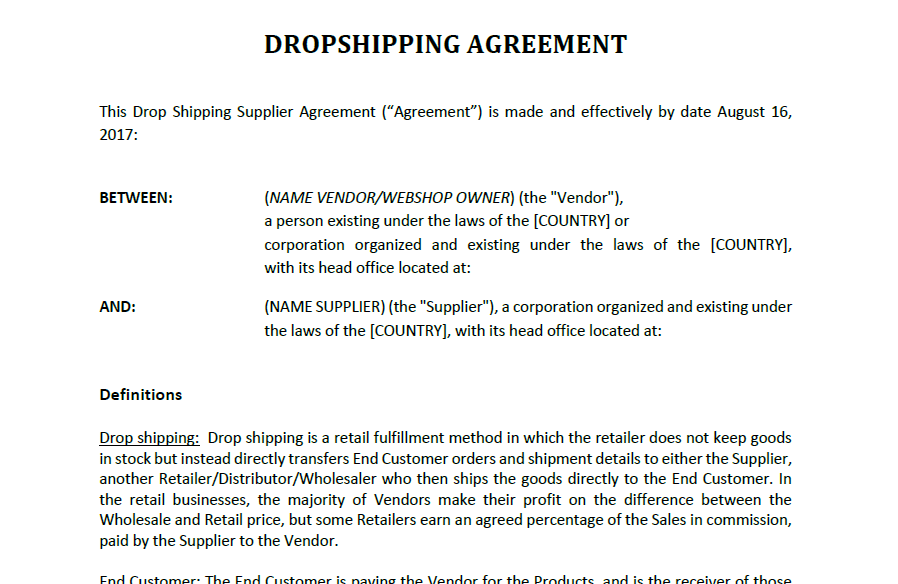 Always work with this Drop Shipping Agreement template when