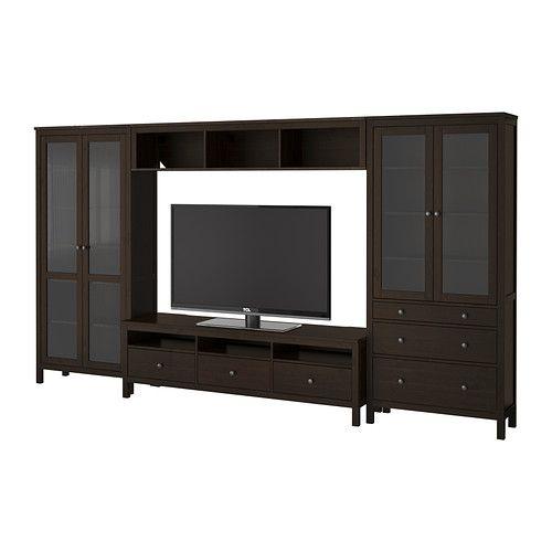 hemnes tv storage combination glass doors black brown ikea etc pinterest ikea room. Black Bedroom Furniture Sets. Home Design Ideas