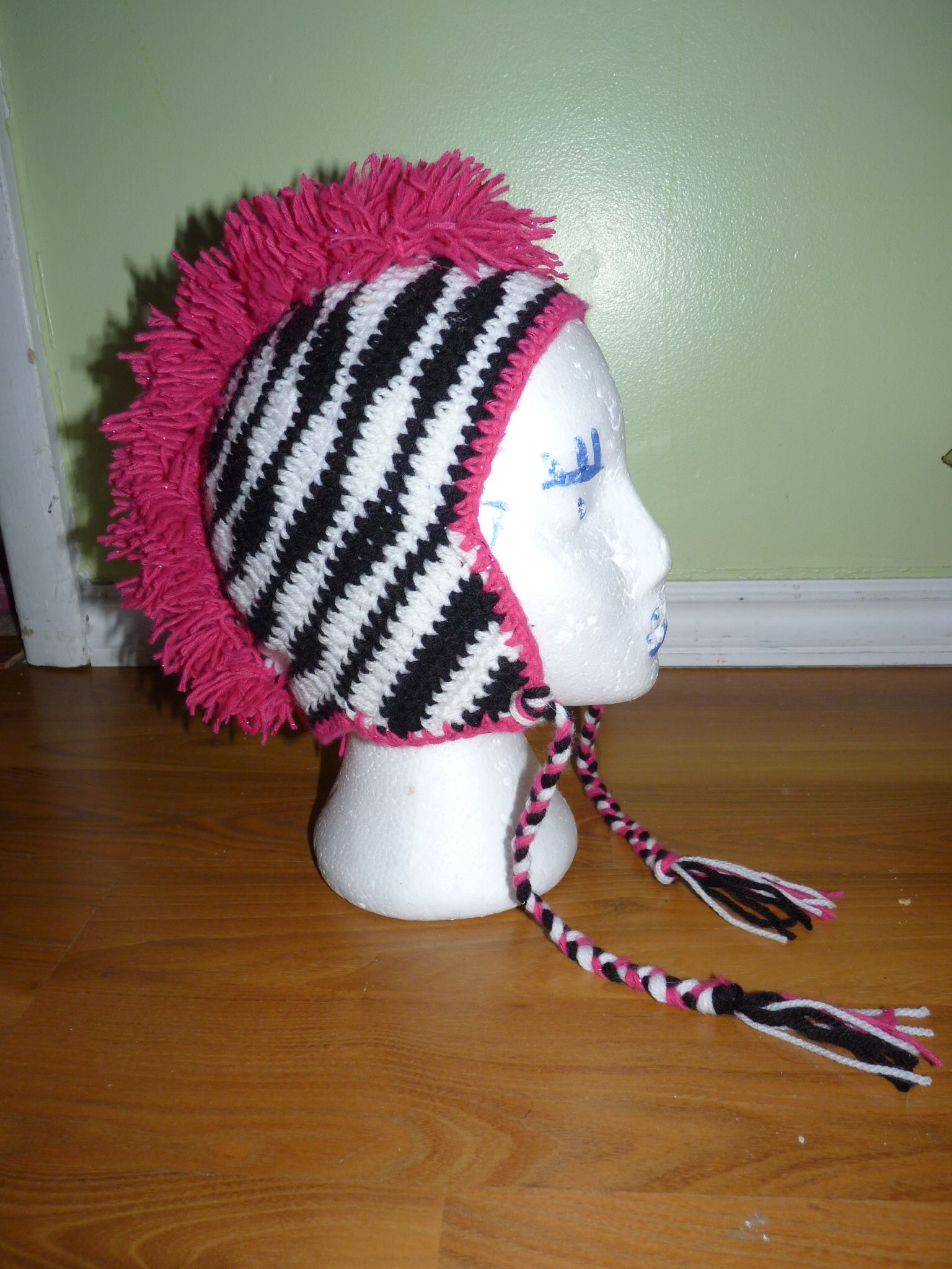 Zebra mohawk hat crochet projs pinterest mohawks crochet and