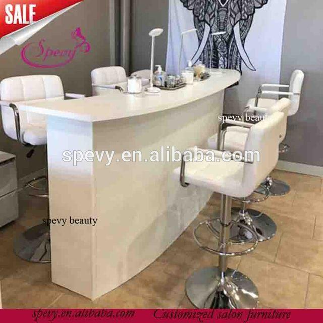 Source triple seats salon white bar chairs / manicure nail bar ...