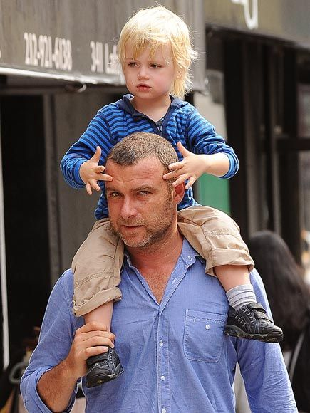 Liev Schreiber and Kai walking in New York