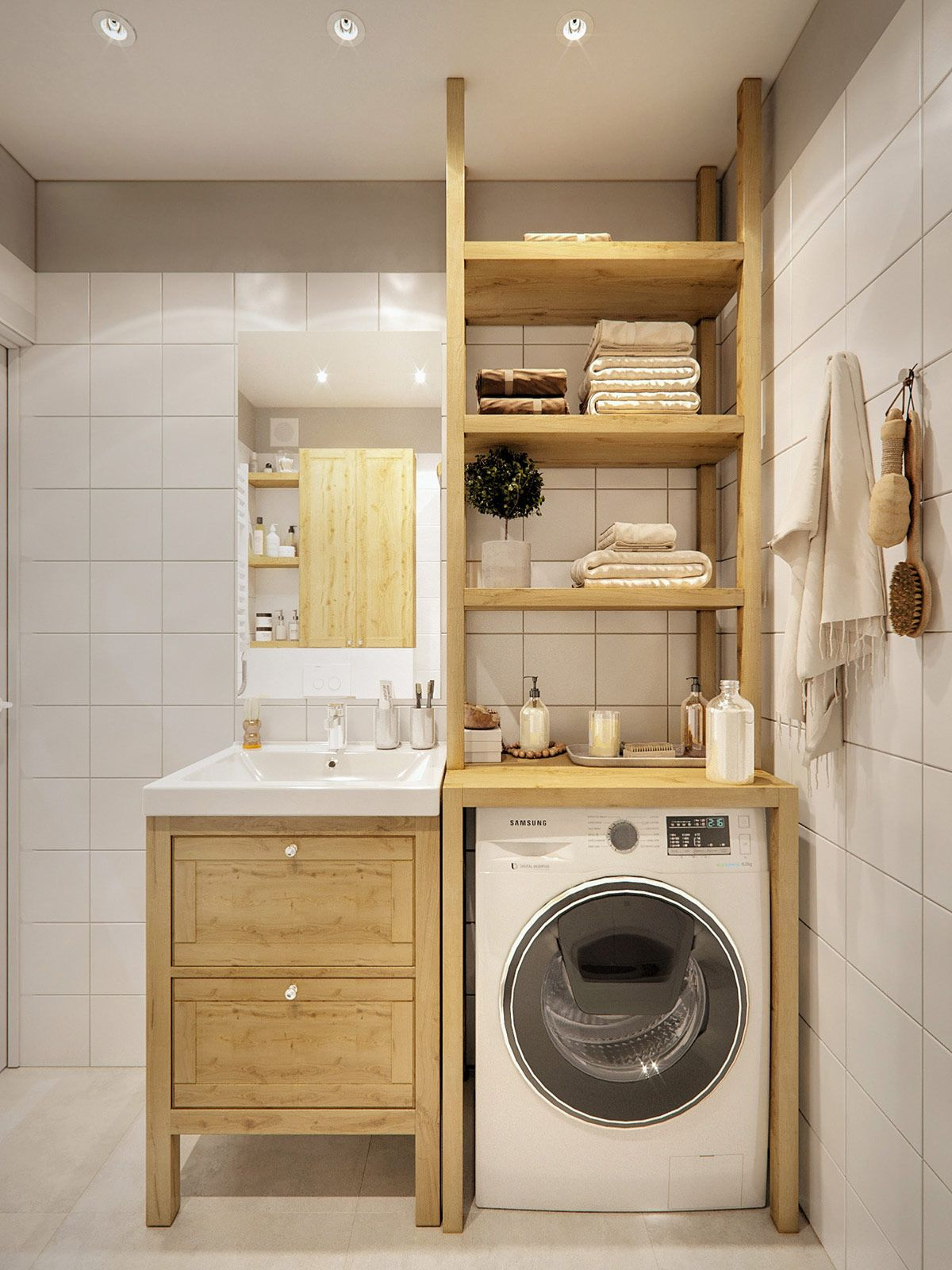 Managing With Less 3 Small Homes Under 40 Square Meters 430 Square Feet In 2020 Laundry In Bathroom Laundry Room Design Bathroom Design