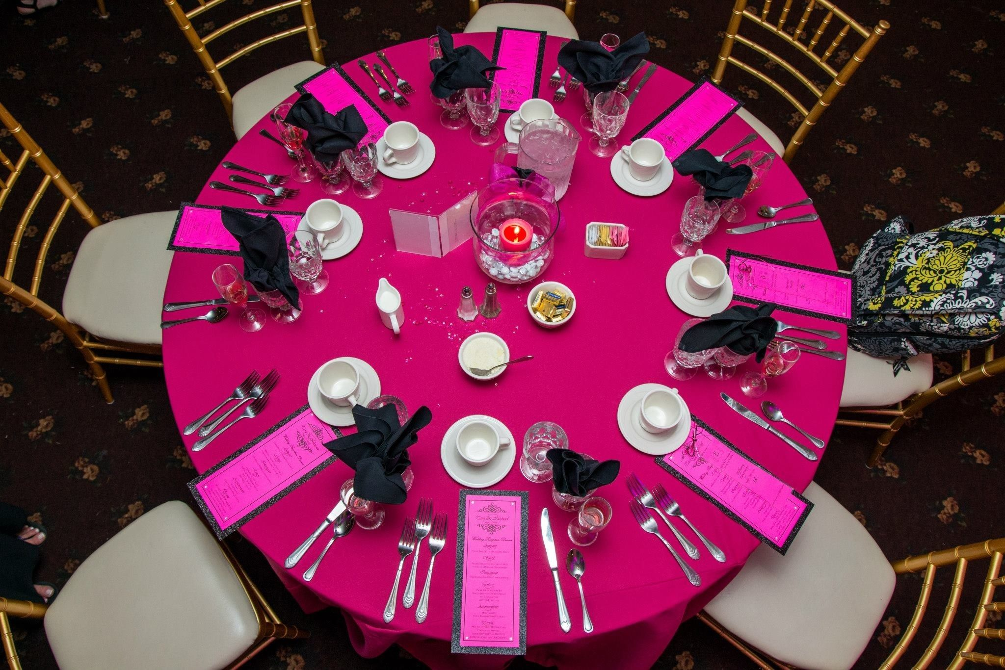 Recreate with Fuchsia tablecloths and black napkins at www.cvlinens ...