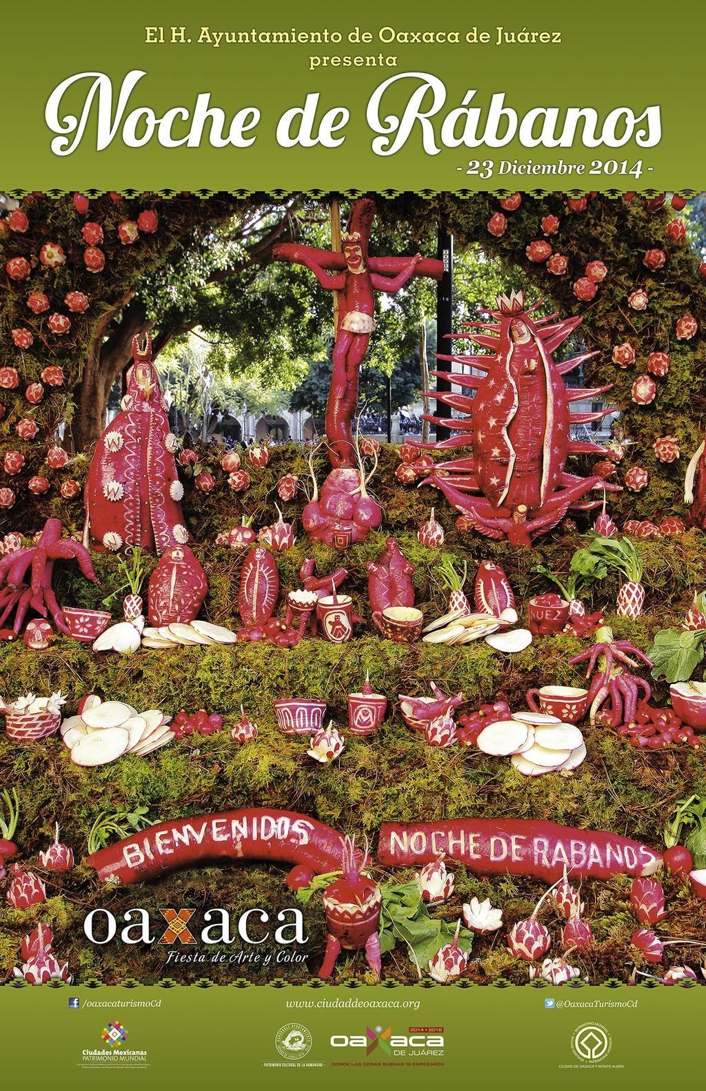 """""""¡Estamos listos para recibirte y hacer que tu navidad sea muy oaxaqueña! #NochedeRábanos2014 #Oaxaca 23 de diciembre"""""""
