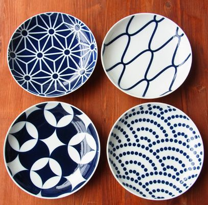 Plate 小紋柄・柄違い中皿4枚組