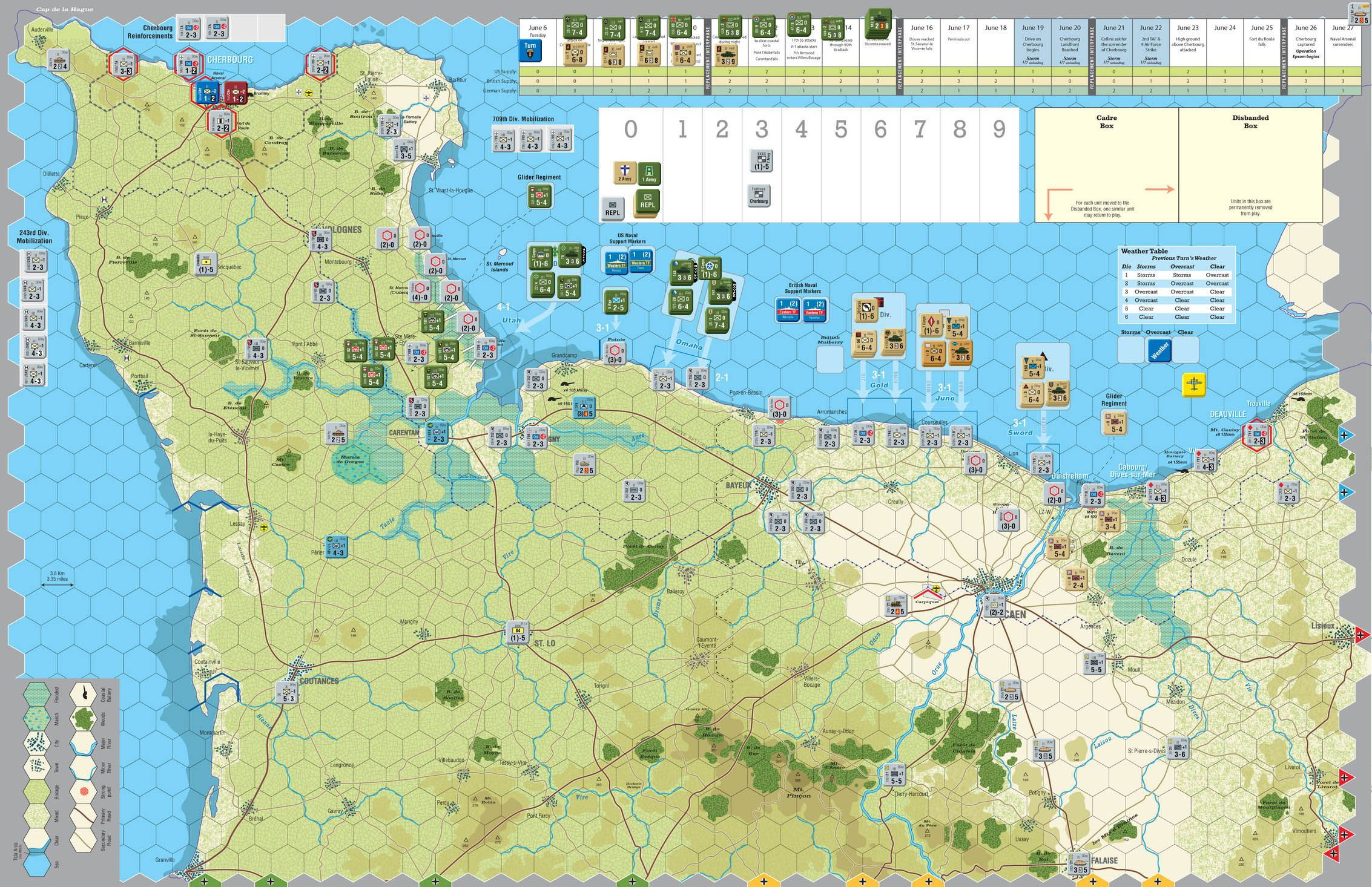GMT Games Normandy '44 Reprint Historical maps