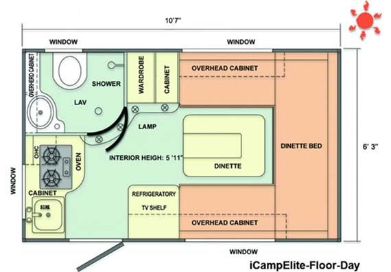iCamp Elite small travel trailer floorplan day Small